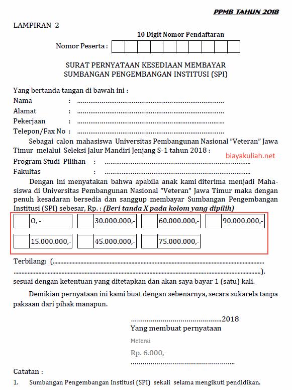 Biaya kuliah UPN Veteran Surabaya memakai sistem Uang Kuliah Tunggal  Biaya Kuliah UPN Veteran Jatim 2019