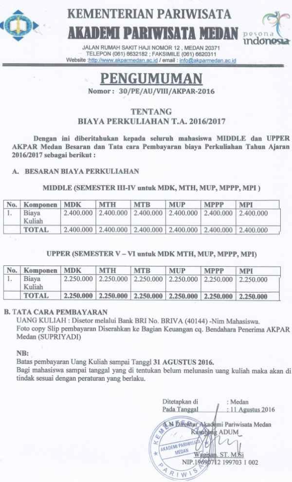 Biaya kuliah Akademi Pariwisata Medan mengacu pada Peraturan Pemerintah RI Nomor  Biaya Kuliah AKPAR Medan